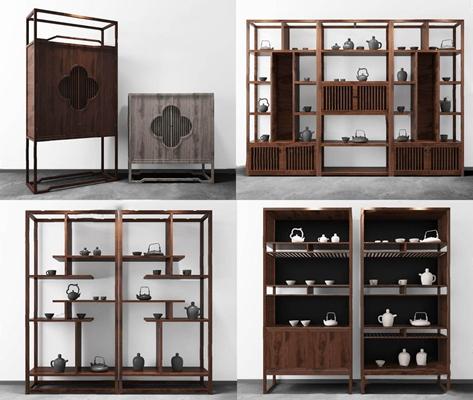 新中式博古架柜子茶具组合3D模型【ID:928189701】