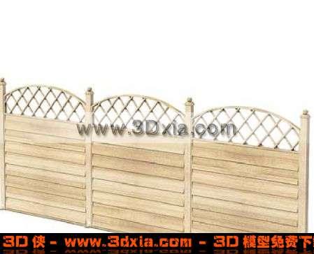 优雅的3D木质围栏模型下载3D模型【ID:1526】