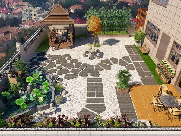 新中式别墅庭院花园3D模型【ID:545512693】