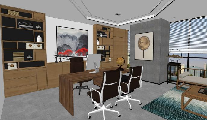 现代办公室SU模型【ID:345211244】