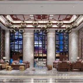新中式酒店会所大厅3D模型【ID:735355071】