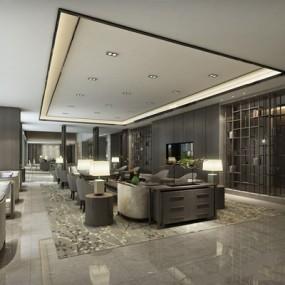 新中式酒店3D模型【ID:528008282】