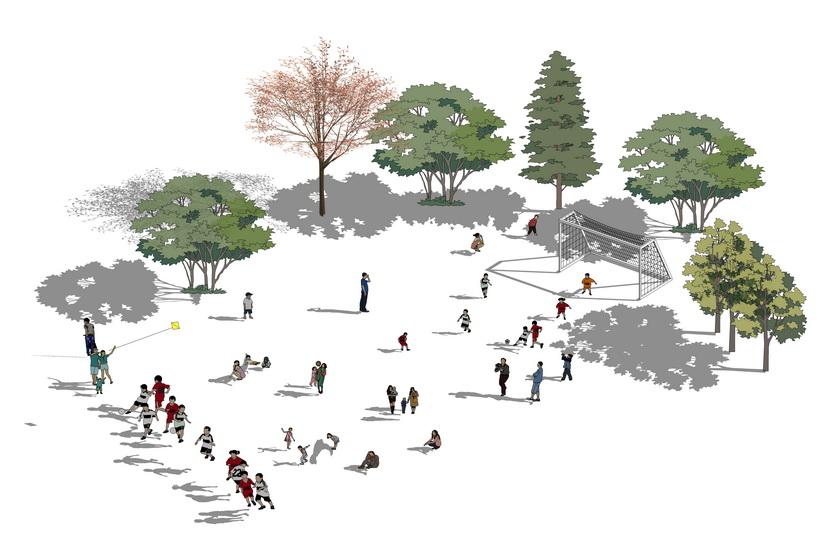 運動人物足球隊植物樹組合SU模型【ID:836344005】