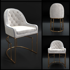 簡歐金屬布藝單椅3D模型【ID:227779417】