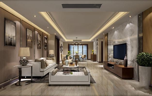 现代客厅3D模型【ID:124887257】