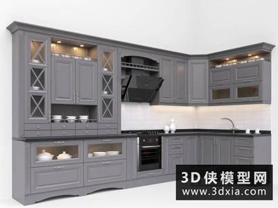 歐式廚柜國外3D模型【ID:829361039】