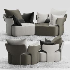 現代布藝休閑沙發毛毯組合3D模型【ID:127754249】