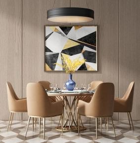 現代餐桌椅餐具吊燈組合3D模型【ID:327785423】
