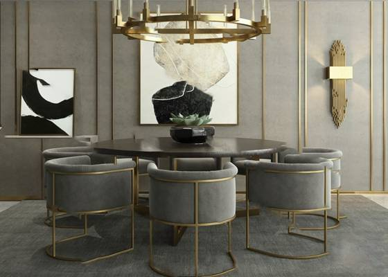 餐桌椅组合3D模型【ID:120605857】