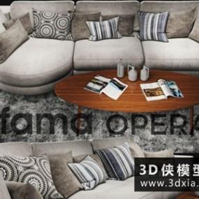 现代沙发国外3D模型【ID:729414653】