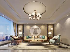 新中式沙发茶几吊灯组合3D模型【ID:635973788】