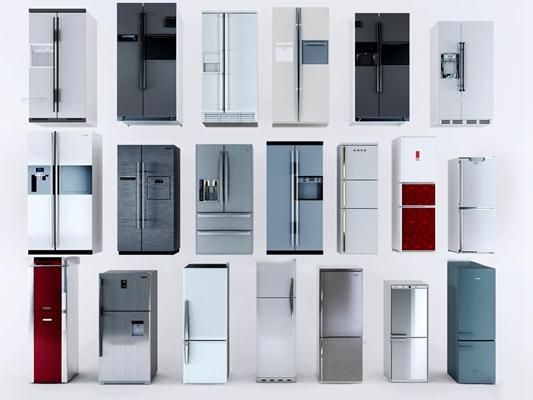 现代冰箱组合3D模型【ID:16834122】