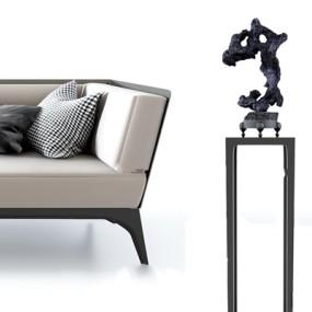 新中式休闲贵妃椅花架脚踏组合3D模型【ID:16862833】