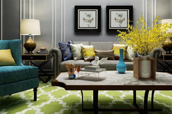 欧式沙发茶几边几台灯花瓶组合3D模型【ID:16865806】