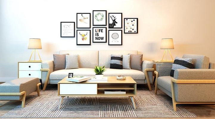现代北欧沙发茶几装饰画组合3D模型【ID:16866707】