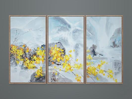 新中式手绘风景装饰画组合3D模型【ID:16867904】
