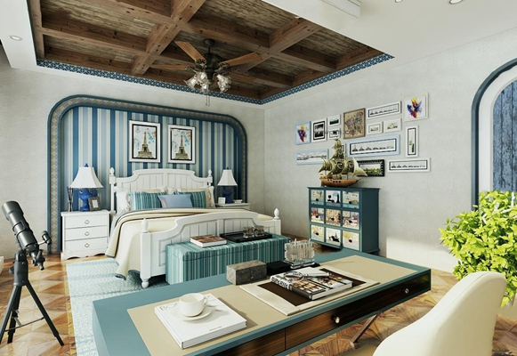 地中海风格卧室空间3D模型【ID:16868335】