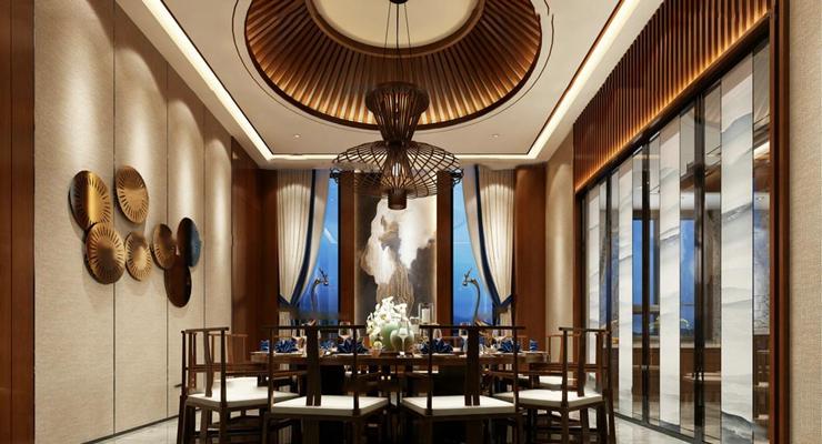 中式餐厅吊灯组合3D模型【ID:16869181】
