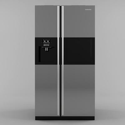 现代双开门冰箱3D模型【ID:16869527】