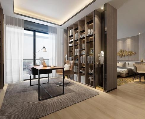 现代书房卧室空间3D模型【ID:16869776】