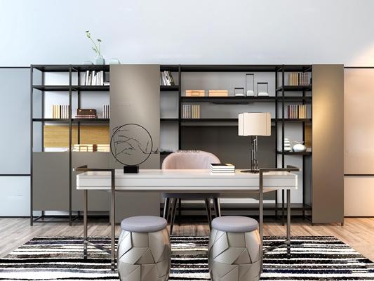 现代书桌椅凳子书柜组合3D模型【ID:16870794】