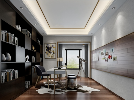 现代书房空间3D模型【ID:16875071】