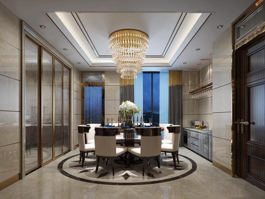 现代餐厅空间3D模型【ID:16876188】