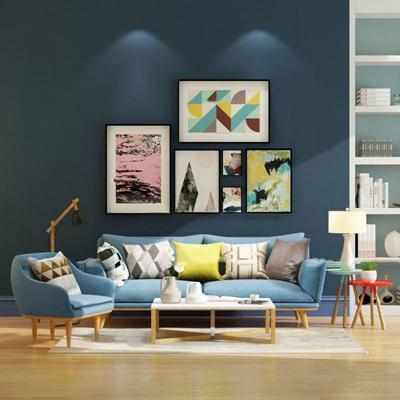 北欧双人沙发茶几台灯装饰画组合3D模型【ID:16876201】