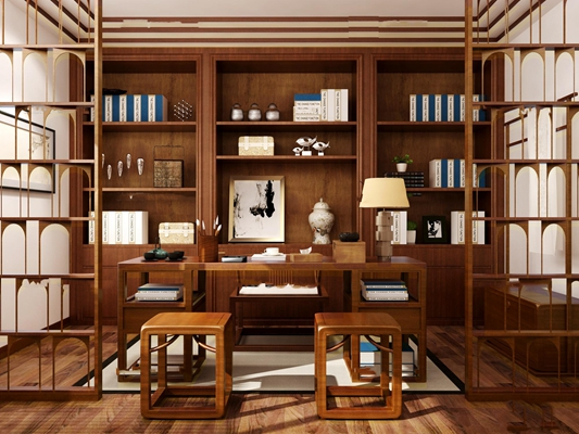 中式书房书架组合3D模型【ID:16877771】