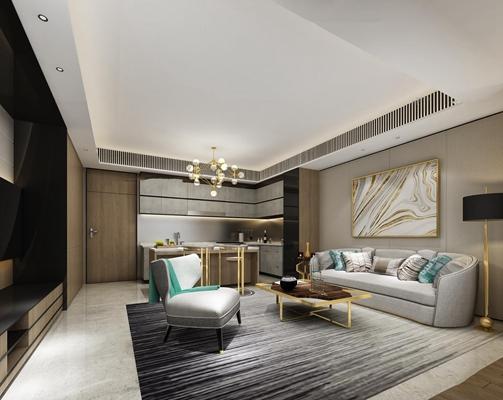 后现代客厅橱柜卧室空间3D模型【ID:16877925】