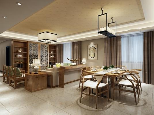 中式餐厅客厅空间3D模型【ID:16881681】