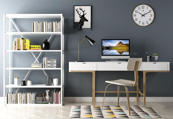 现代书桌椅书架台灯组合3D模型【ID:16881699】