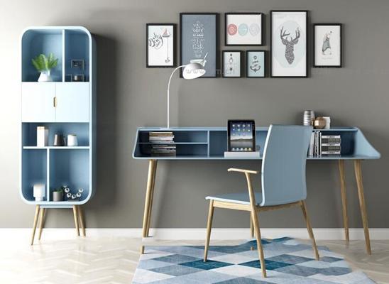 现代实木书桌椅装饰柜装饰画组合3D模型【ID:16881799】