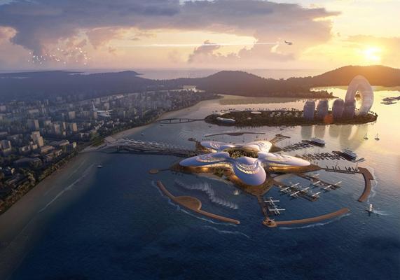 现代三亚凤凰岛水上机场鸟瞰图3D模型【ID:16883446】