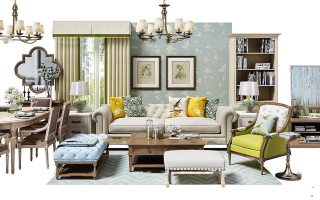 简约美式沙发休闲椅餐桌椅吊灯挂画软装配饰组合3D模型【ID:16883606】