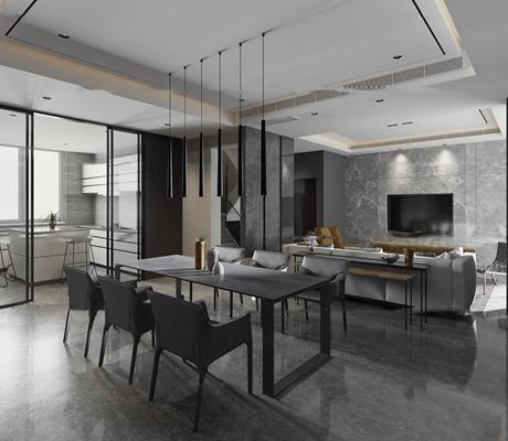 现代客厅餐厅空间3D模型【ID:16883786】