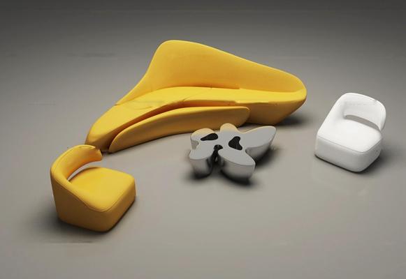 现代创意沙发茶几组合3D模型【ID:16883821】