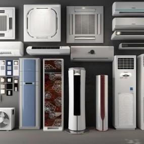 现代立式挂式空调柜机天花机3D模型【ID:16884648】