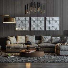 现代布艺转角多人沙发休闲椅茶几吊灯组合3D模型【ID:16884900】