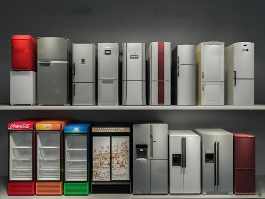 现代双开门单开门冰箱商店冰柜组合3D模型【ID:16885721】
