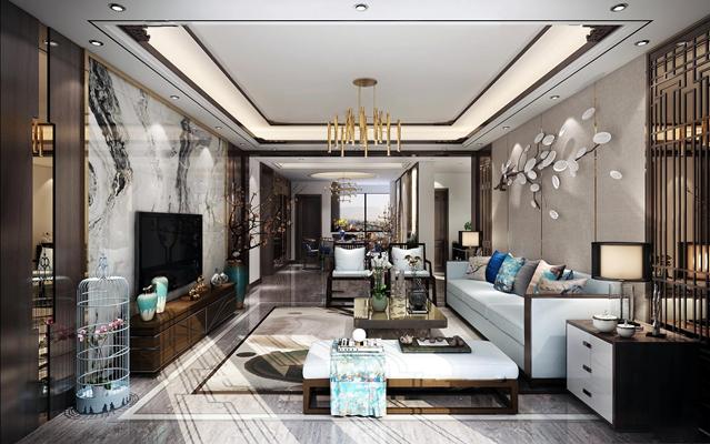 新中式客厅餐厅空间设计3D模型【ID:16885724】