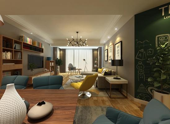 现代北欧客厅空间3D模型【ID:16887321】