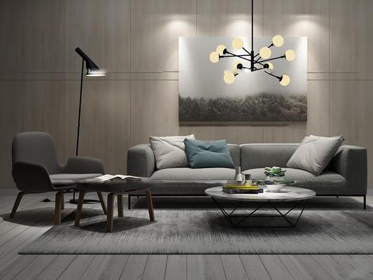 北欧布艺沙发休闲椅茶几吊灯装饰画组合3D模型【ID:16888900】