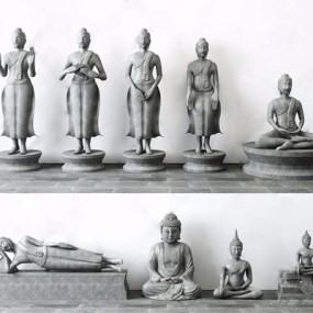 中式佛像雕塑3D模型【ID:928353182】