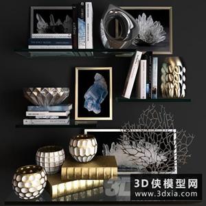 現代裝飾品組合國外3D模型【ID:929322889】