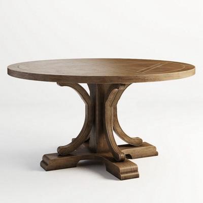 美式乡村实木桌子实木茶几3D模型【ID:16909920】