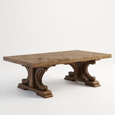 美式乡村实木桌子雕花3D模型【ID:16909922】