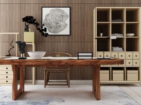 中式實木書桌椅書柜組合3D模型【ID:127756903】