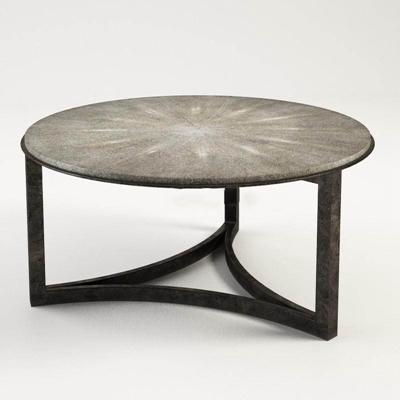 经典三角形底圆桌工艺黑色桌3D模型【ID:16919226】