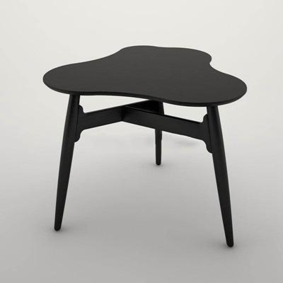 实木椭圆形三角形简约黑色小桌茶几现代茶几3D模型【ID:16919627】